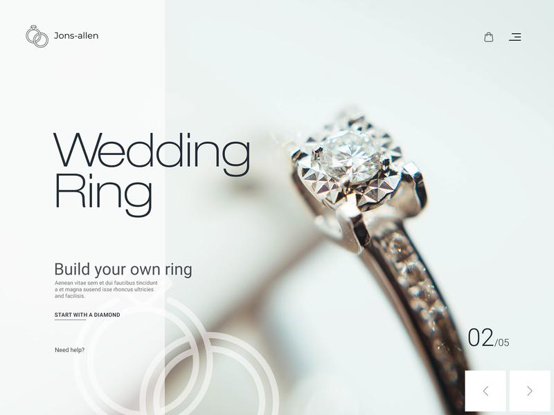 Jons-allen : Wedding Ring Website couple rings webdesign logo light goldenring diamond wedding ring wedding website design web design website typography landing page design clean