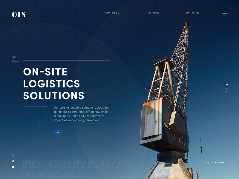 OLS : On-Site Logistics Solutions dark theme civil architecture heavy equipment construction blue website concept website design web design logistics website landing page web design