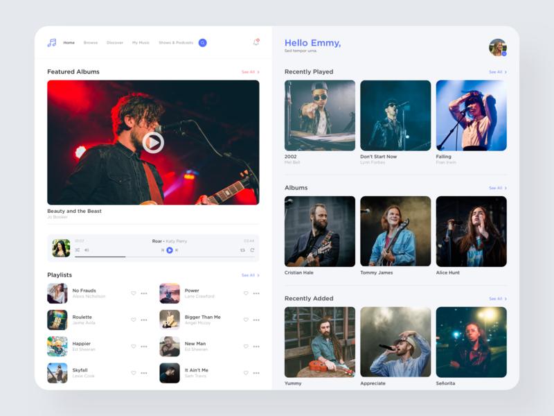 Music Artist App Dashboard singers music app musician dashboard ui light flat user interface ux web ui clean design