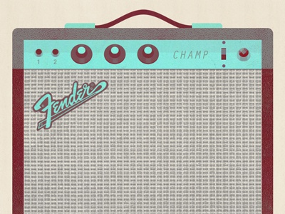 Amp Champ amp fender illustration glindon guitar