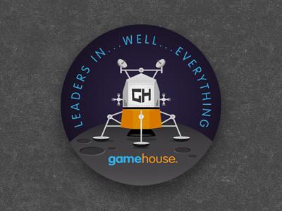 Lunar Lander badge pin illustration glindon gamehouse casual connect