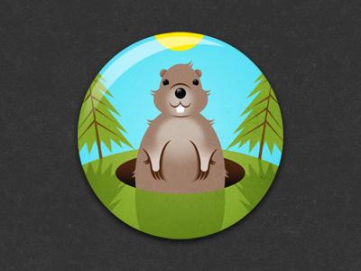 Groundhog Day Badge badge pin illustration glindon groundhog groundhog day