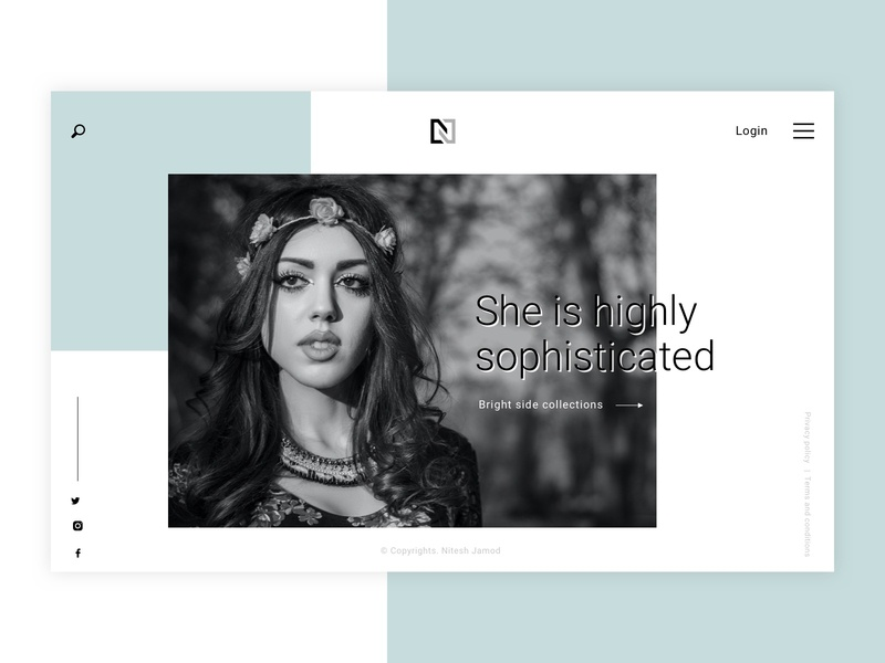 Modeling Agency | Website Concept app landing page makeup glamour fashion beauty black and white flat clean website agency model modeling ux ui minimal creation dribbble design illustration