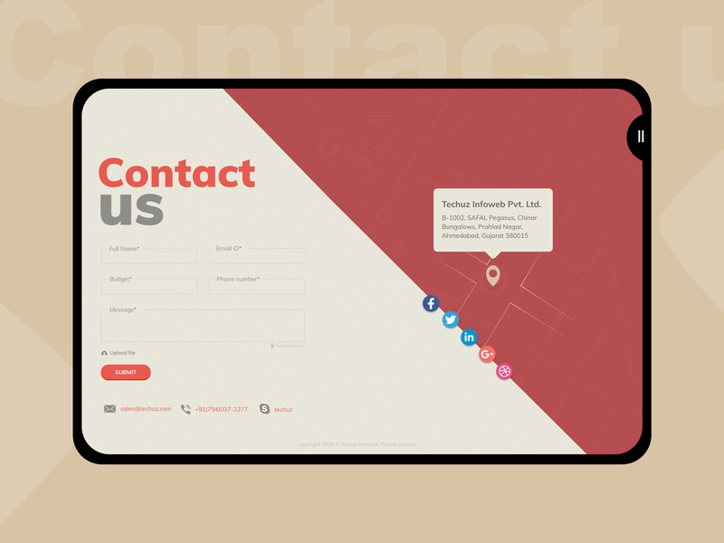 Contact us | Lead form write us unique lead capture map pin ux ui design ipad app tablet mockup tablet design website retro design cro contact map inquiry form contact us techuz lead illustration creation