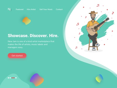 Landing Page for Music Marketplace company guitarist ui ux design market place webpage design webpage website concept landing page artistic direction artist personal branding music website vectore illustrator dribbble design unique illustration creation