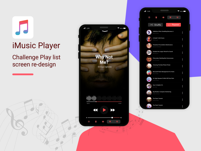 Imusic Player branding attractive creation illustration play entertainment ux challenge challange ui  ux design app redesign ux design mobile app development vlc itunes music app design app mobile app design apple music musicplayer imusic