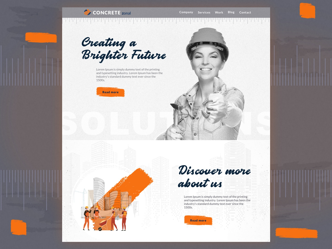 Architecture Website | Modern Web Design illustrator contractors modern interior concrete zonal workers construction architect design monochrome typography real estate property minimal landing page design clean website clean user interface clean ui design architecture website