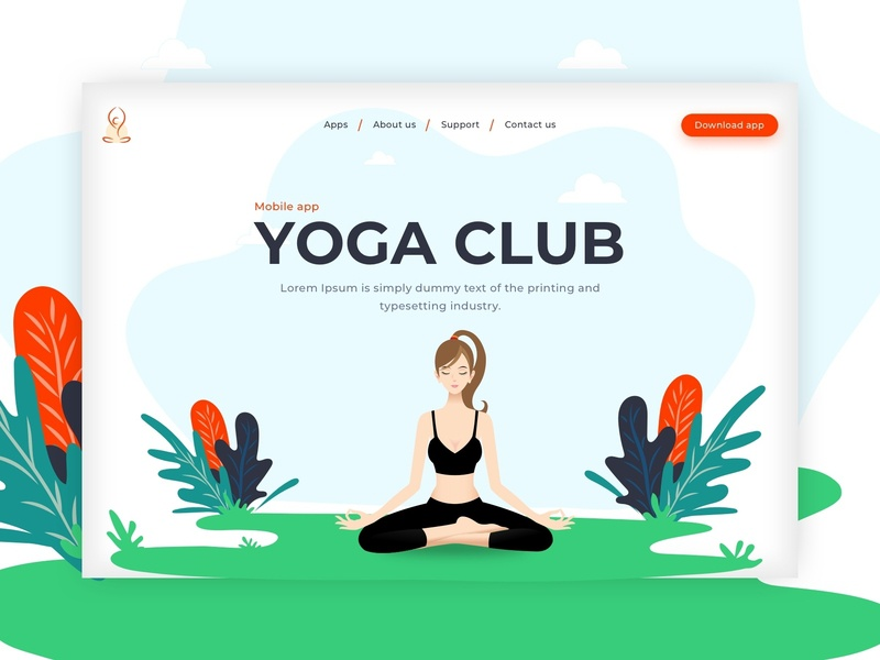 Landing Page - Yoga app fitness app minimal drawing dribbble branding art creation yoga logo modern design uiuxdesign landingpage medication gym yoga trainner health yoga app yoga attractive design illustration