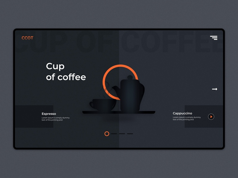 Café Landing Page | Coffee Shop Website branding kettle cup landing page slider design banner design darkness orange dark theme ui ux design homepage restaurant minimalist beverage coffee cafe design dribbble illustration