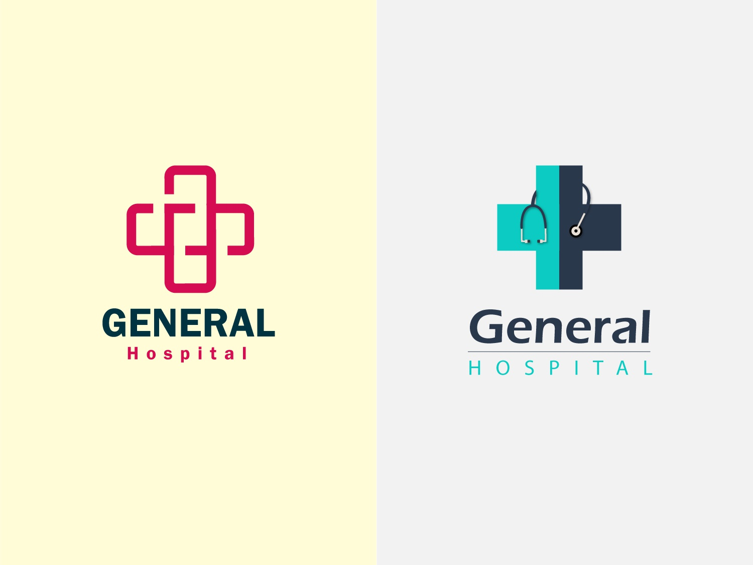 General Hospital Logos nurse doctor cross stethoscope logo vectore art minimalist logo ui ux design clinic general hospitality hospital logo hospital logos logo design branding design creation illustration