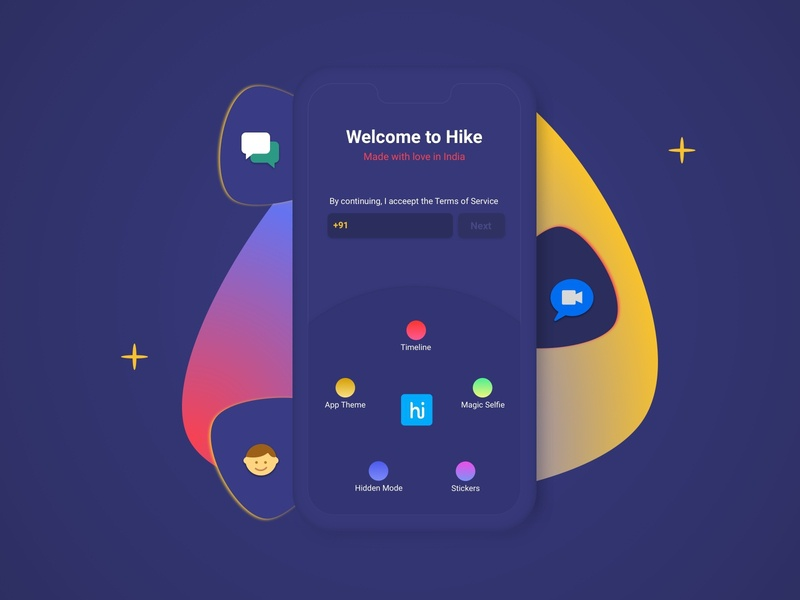 Hike Messenger: Sign In Redesign register page login page sign up page sign in blue india social app branding attractive business branding design twitter facebook whatsapp chat messenger hike dribbble creation illustration