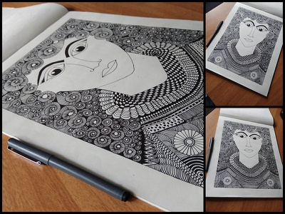 Doodle Art hobby blackink doodleart cleopatra newversion