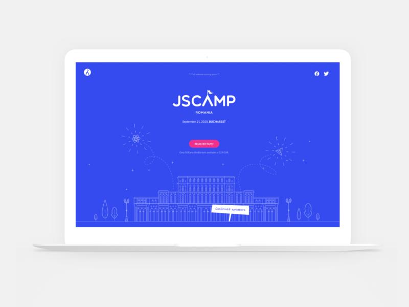 JSCamp Romania Website flat logo vector web ui interface design design