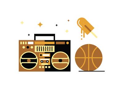 Block Party illustration flat vector illustrator chicago orange brown yellow basketball popsicle boom box ghetto blaster