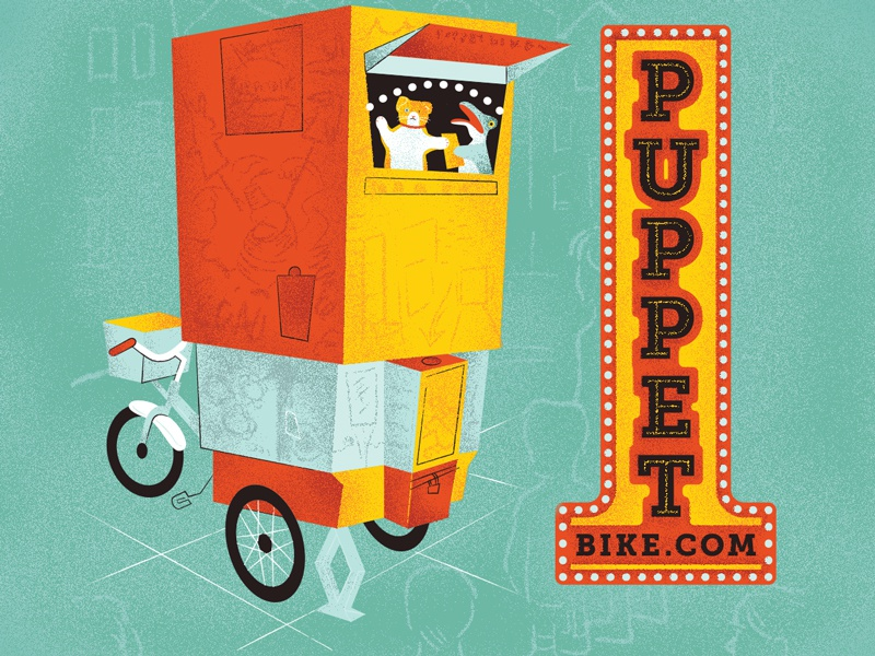 Puppet Bike chicago puppets bike tricycle bicycle illustration vector texture red yellow blue puppet theater
