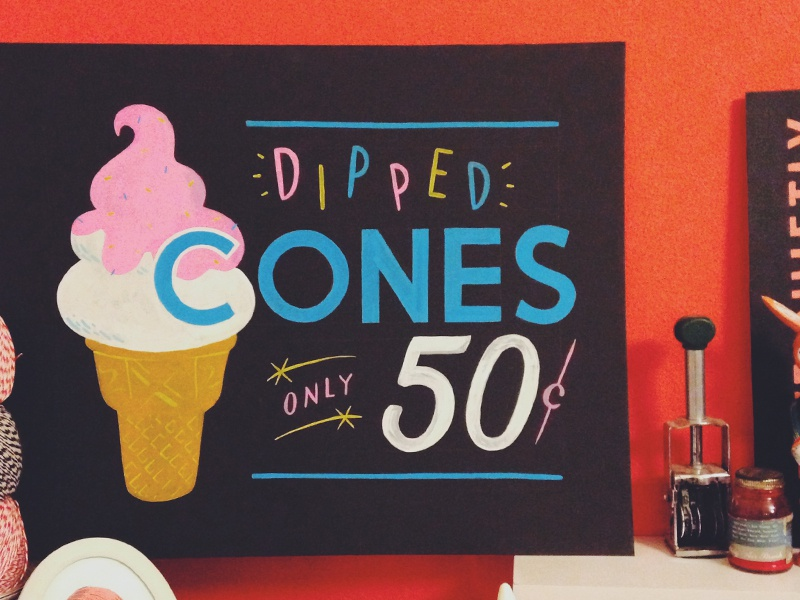 They were cones! lettering type typography showcard cone sign painting sign writing sign painter hand painted hand lettering ice cream