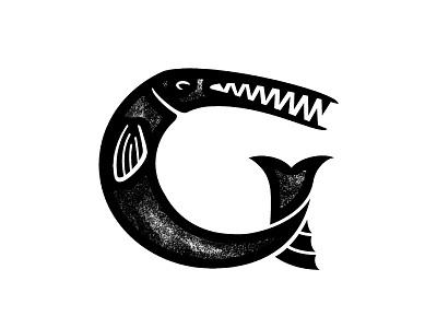 Gar Fish alligator g vector rough texture logo fish gar