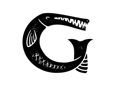 Gar Fish Round 9 gazillion scales fin alligator stamp gar texture rough fish indentity mark logo