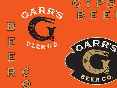 chinese red g gar seal ivory black gold red beer branding identity mark logo
