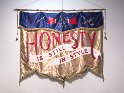 Honesty Is Still In Style hand lettering secret society hand painted typeforce lettering painting masonic flag banner