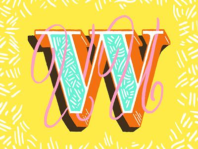 Double U drop cap type fight hand lettering dropcap confetti script letter u w lettering type typefight