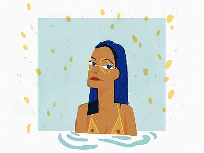 lady editorial spot illustration drawing swimming pool glasses black girl portrait people illustration