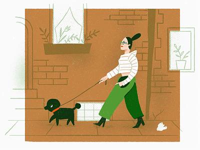 Dogwalker editorial spot illustration drawing walking dog glasses fashion girl portrait people illustration