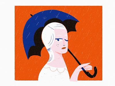 rain daggers 2 the eyez drawing weather umbrella woman portrait people editorial editorial illustration spot illustration illustration