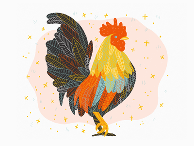 Year of the Rooster drawing illustration zodiac rooster lunar new year chinese new year