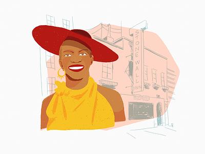 Marsha Pay-It-No-Mind Johnson drawing pride stonewall black history month lgbt trans portrait people editorial editorial illustration spot illustration illustration