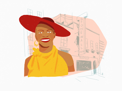 Marsha Pay-It-No-Mind Johnson drawing pride stonewall black history month lgbt trans portrait people editorial editorial illustration spot illustration illustration