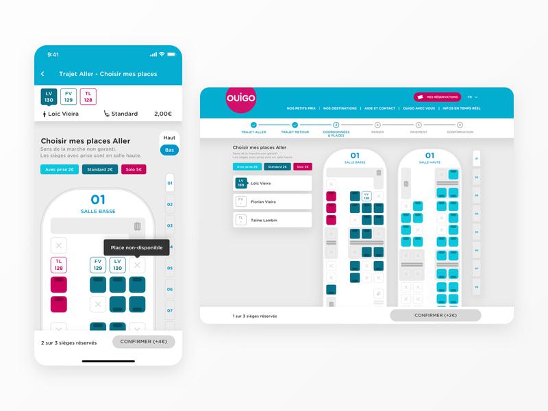 Seatmap OUIGO App sticky interface scroll select train map seatmap seat app design product design