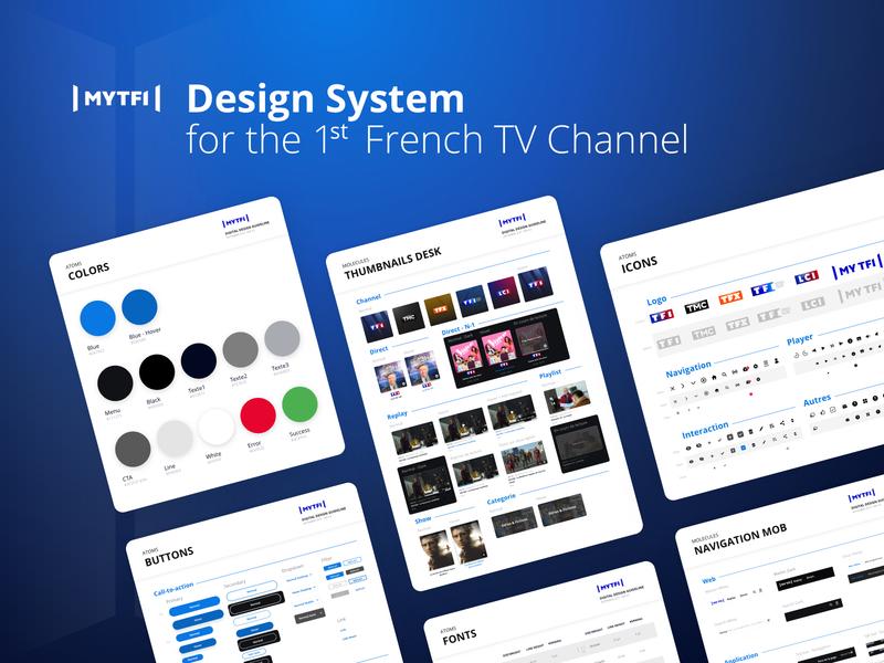 Design System - TF1 app mobile desktop thumbnails navigation menu navigation buttons styleguide color icons interaction design tech collaboration product design design system