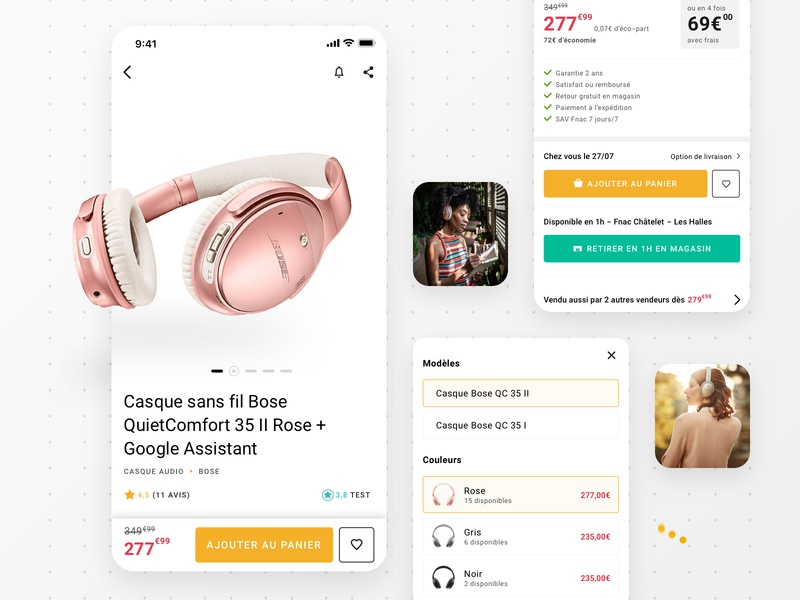 Redesign Product Page - Fnac design system styleguide colors app design product page headphone retail mobile app app ui design interaction design product design