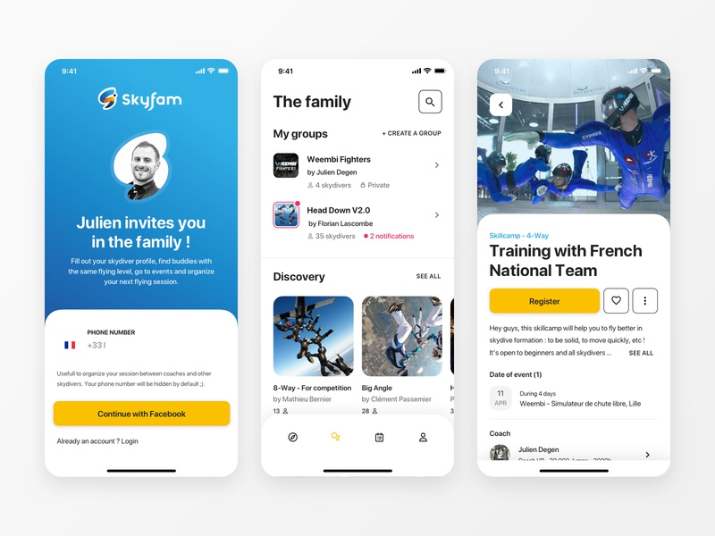 Mobile App - Skyfam login with facebook event page tabbar signup organize groups events training sport coach skydive visual design uidesign mobile app design app