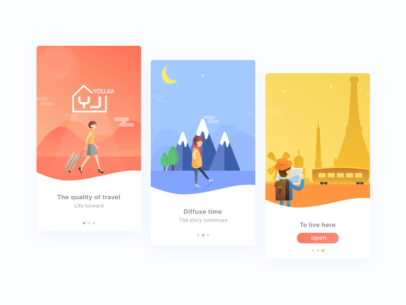 Short rent onbording ux simple signup sign login gradient ui app illustration onbording
