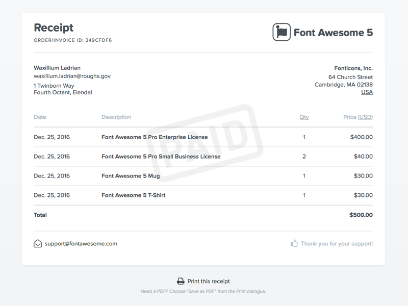 font awesome 5 receipt by brian talbot dribbble