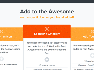Add to the Awesome product marketing font awesome tiers sponsorship orange fontawesome.com font awesome