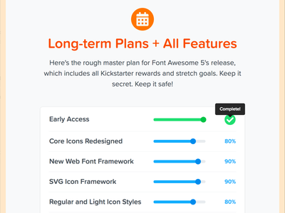 FA Features - Plans + Progress progress features plans awesome font font awesome