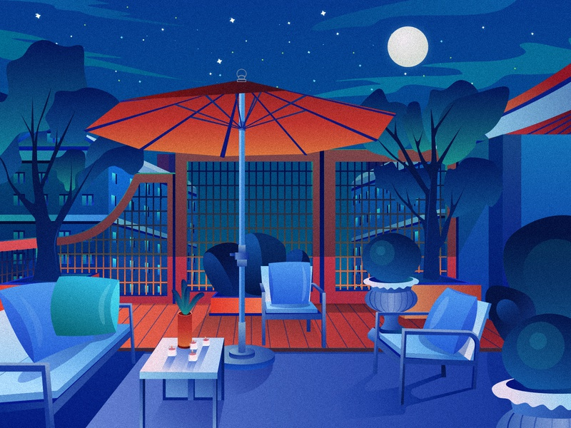 courtyard plant month night leisure household courtyard blue colors design illustration sketch