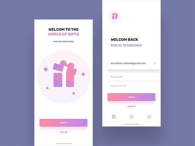Gift Welcome screen with sign in