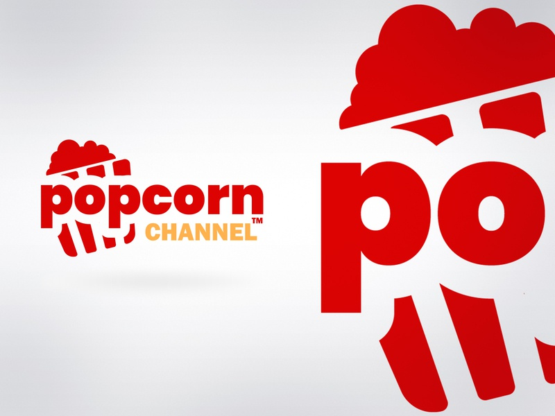 Popcorn Chanel design red flat network tv channel logo popcorn