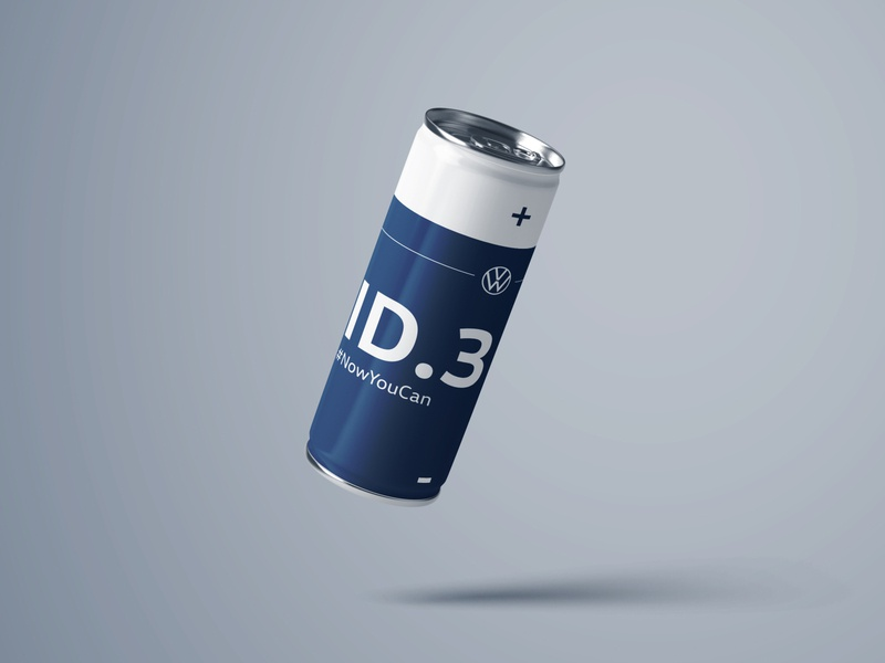 Energy Drink - VW ID.3 battery blue can bottle cars id3 electric drink energy vw