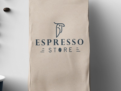 Coffee Store Logo vector blue design tools parrot logo store coffee