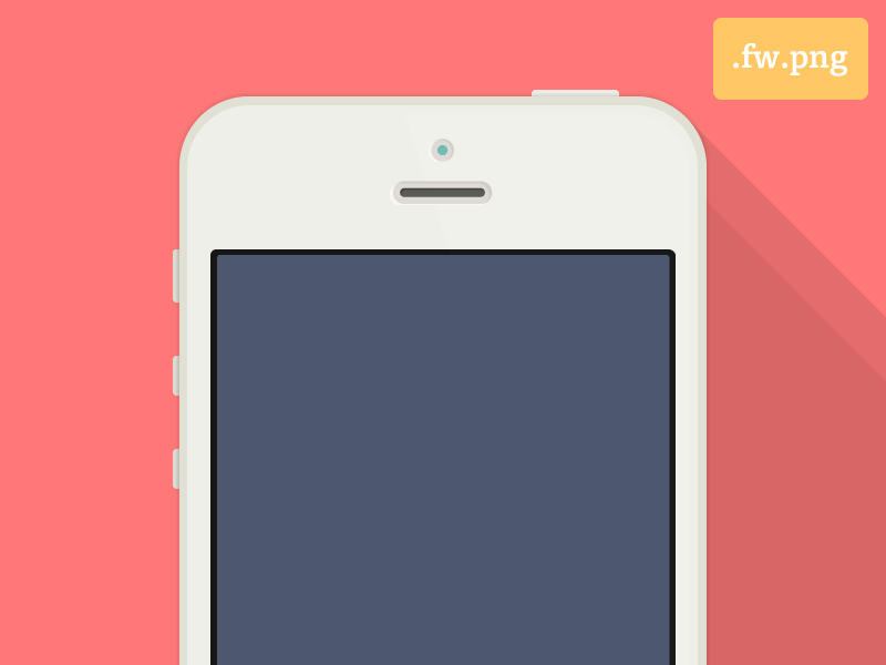 Flat iPhone 5 Adobe Fireworks Template  iphone adobe fireworks template freebie flat shadow clean mockup simple ios7 long