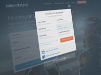 Sign Up modal - LinkedIn & Facebook connect