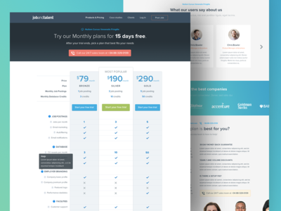 Plans & pricing page + FAQ @ jobandtalent