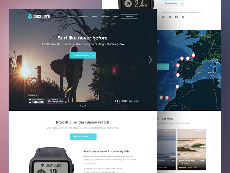 Glassy.pro Landing Redesign product redesign glassy pro marketing page mobile surf flat conversion smartwatch landing