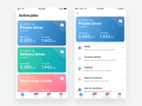 My work iphone ios11 concept ux profile calendar feed filters chat notifications landing staffing