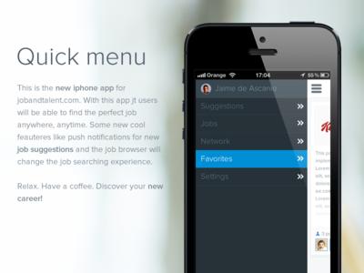 iPhone Slide out menu
